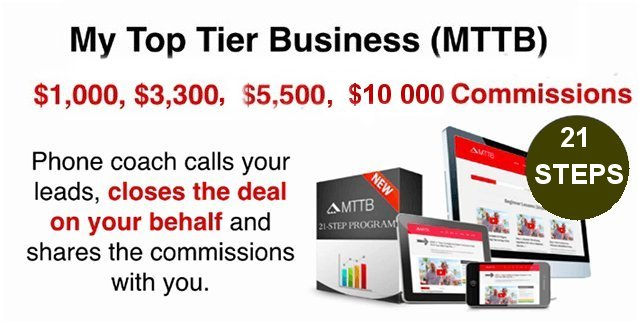 My Top Tier Business: (MTTB) 21 Steps System to getting $1,250, $3,300 and $5,500 commissions deposited directly into your bank account without you ever making a phone call.