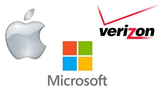 Apple, Microsoft, and Verizon